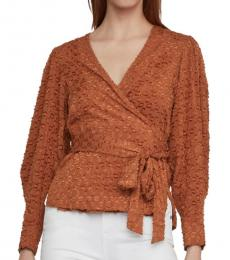 BCBGMaxazria Tiger Eye Pleated Shoulder Wrap Top