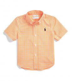 Ralph Lauren Baby Boys Orange/White Gingham Shirt