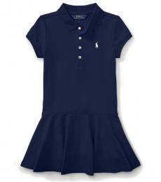 Little Girls Navy Short-Sleeve Polo Dress