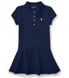 Ralph Lauren Little Girls Navy Short-Sleeve Polo Dress