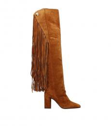 Chloe Brown Fringes Embellished Boots