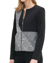Calvin Klein Navy Blue Patchwork Zip-Front Jacket