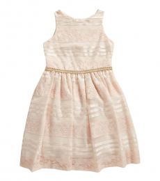 Badgley Mischka Girls Pink Floral Lace & Sequin Stripe Dress