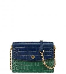 Tory Burch Blue Green Parker Embossed Small Shoulder Bag