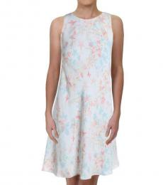 Ralph Lauren White Geminah Floral Print Work Dress