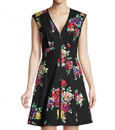 Kate Spade Black Rare Roses Sleeveless Poplin Dress