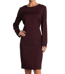 Diane Von Furstenberg Maroon Cleo Dot Printed Dress