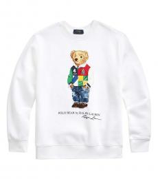 Ralph Lauren Boys White Polo Bear Fleece Sweatshirt