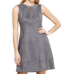 DKNY Grey Faux Suede Dress