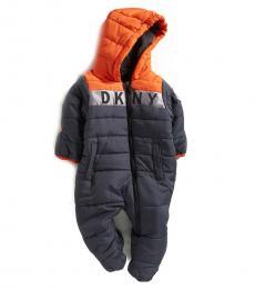 DKNY Baby Boys Charcoal Color Block Snowsuit