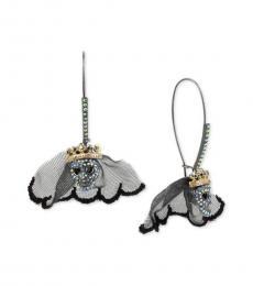 Metal Crystal Bride Skull Earrings