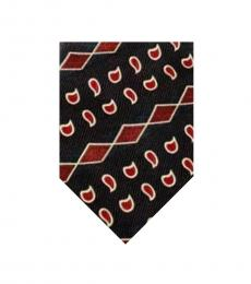 Burgundy Abstract Print Tie