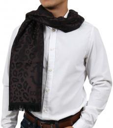 Dark Brown Leopard Print Scarf