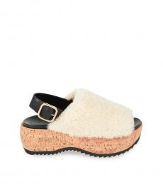 White Slingback Fur Sandals