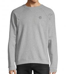 Grey Raglan-Sleeve Cotton Sweatshirt
