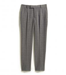 Boys Grey Windowpane Slim Fit Pants
