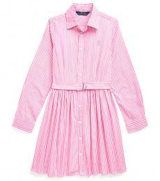 Ralph Lauren Girls Pink/White Striped Shirtdress