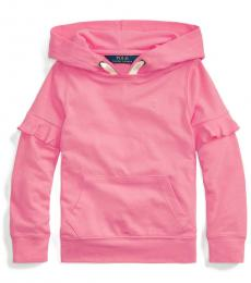 Ralph Lauren Little Girls Baja Pink Ruffled Hoodie