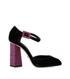 Dolce & Gabbana Black Pink Velvet Heels