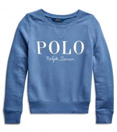 Ralph Lauren Girls Capri Blue French Terry Logo Pullover