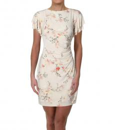Ralph Lauren Off White Floral Ruffle Sleeve Party Dress