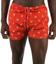Neil Barrett Red Printed Boxer Beachwear