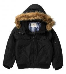 Ben Sherman Boys Black Parka Bomber Jacket