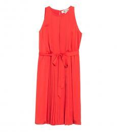 Diane Von Furstenberg Orange Ria Sleeveless Pleated Dress