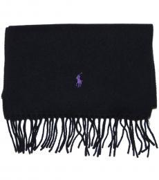 Ralph Lauren Black Purple Pony scarf