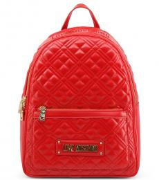 Red Quilted Large Backpack
