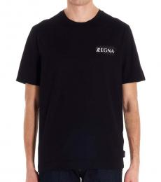 Zegna Black Front Logo T-Shirt