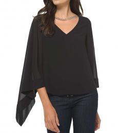 Michael Kors Black Asymmetrical Chain-Embellished Blouse