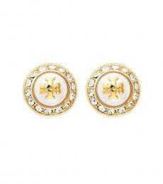 Tory Burch Gold Ivory Pearl Stud Earrings