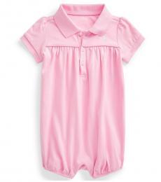 Ralph Lauren Baby Girls Carmel Pink Interlock Bubble Shortall