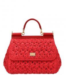 Dolce & Gabbana Red Sicily Medium Satchel