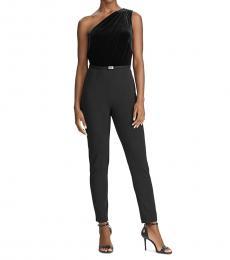 Ralph Lauren Black Peria Velvet One Shoulder Jumpsuit