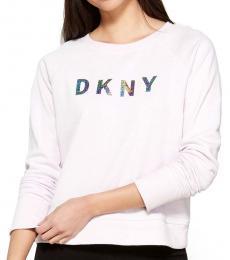 DKNY White Sparkle Logo Sweatshirt