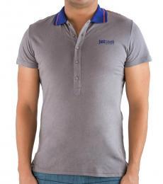 Just Cavalli Grey Logo Print Cotton Polo