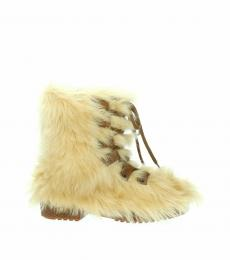 Saint Laurent Beige Fur Ankle Boots