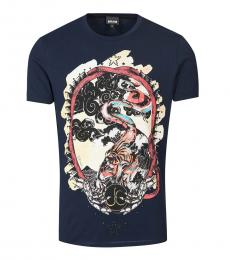 Dark Blue Graphic Print T-Shirt