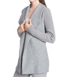 Heather Grey Open Front Cardigan Sweater