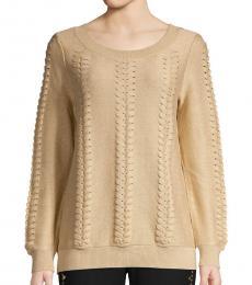 Khaki Lace-Up Sweater
