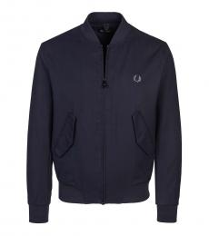 Fred Perry Navy Logo Embroidery Bomber Jacket