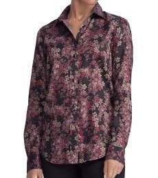 Black Point-Collar Cotton Shirt