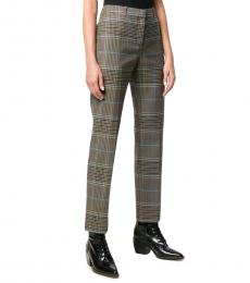 Brown Wool Check Straight Fit Trousers