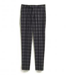 Calvin Klein Boys Black Shadow Check Slim Fit Pants