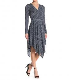 BCBGMaxazria Dark Blue Striped Wrap Knit Dress