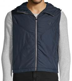 Versace Collection Navy Blue Logo Embroidered Jacket