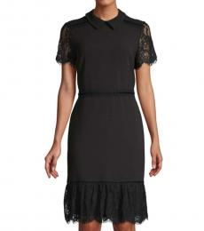 Karl Lagerfeld Black Collared Lace-Trim Dress