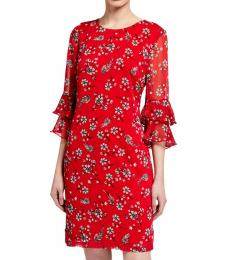 Karl Lagerfeld Red Printed Chiffon Sheath Dress